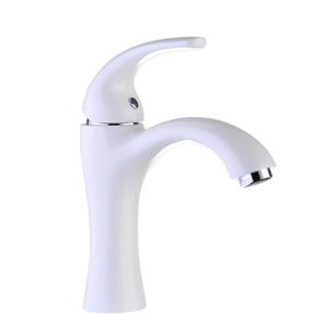 Streamlined Design White Painting One Hole Sink Faucet Bathroom