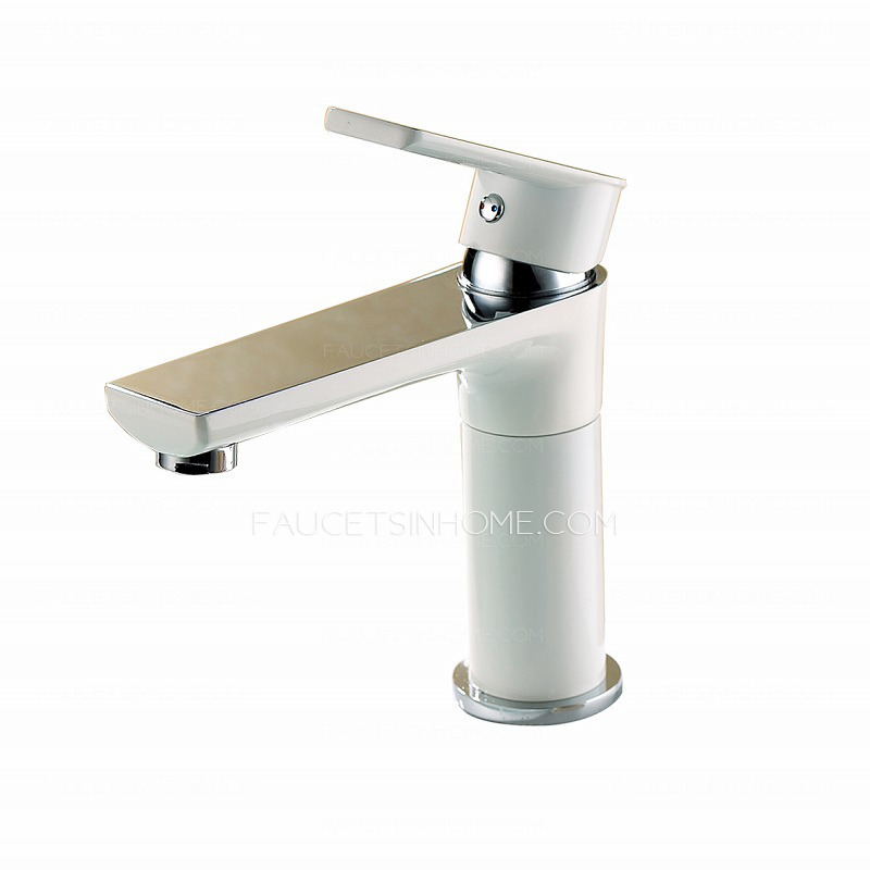 White Faucet Bathroom : Home > Bathroom Sink Faucets > Classical White Painting Copper Mirror ...