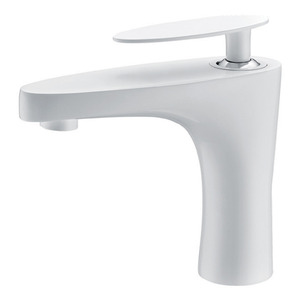 Designed White Painting Flat Single Handle Sink Faucet Bathroom