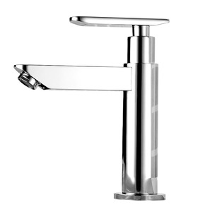 Fashionable Suqare Shaped Copper Cold Water Bathroom Sink Faucet