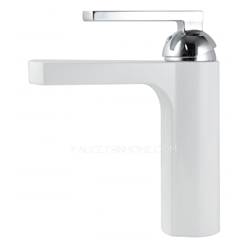 Chic White Painting Sector Shaped Bathroom Sink Faucet
