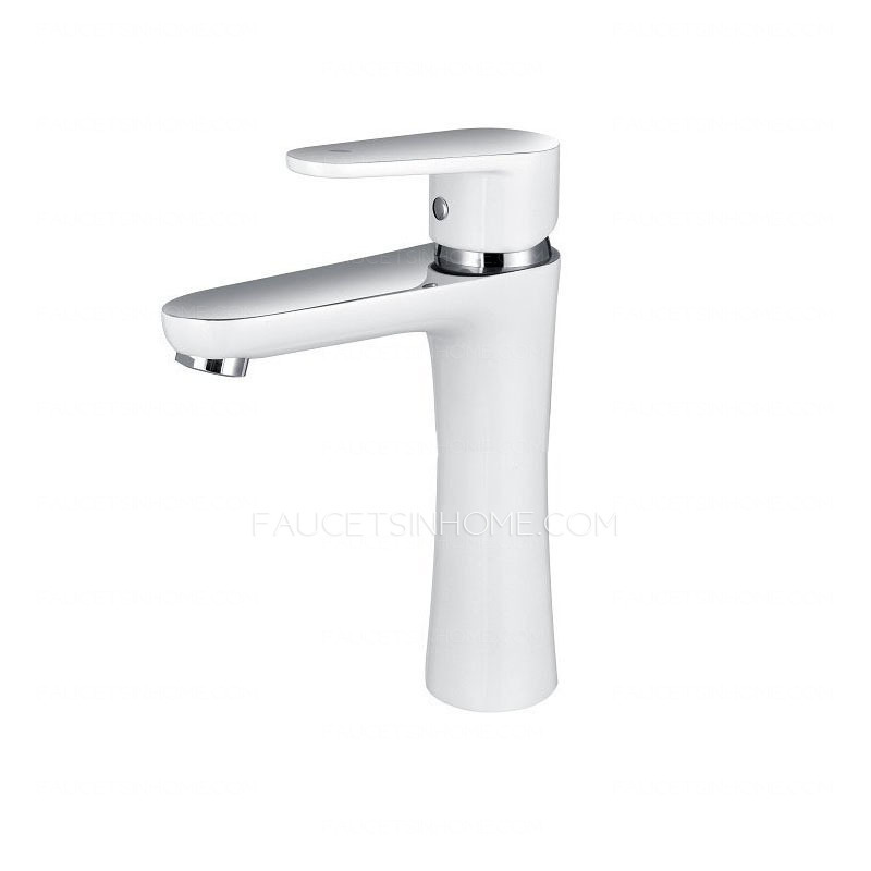 White Faucet Bathroom : Bathroom Sink Faucets > Modern White Painting Single Handle Bathroom ...