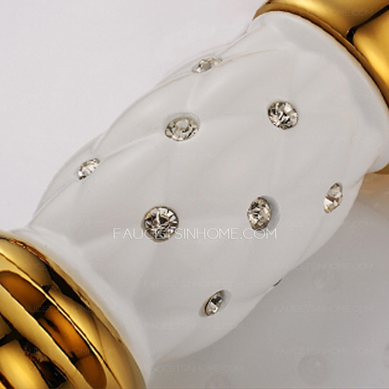 Luxury Rose Gold Copper Bathroom Sink Faucet With Diamond