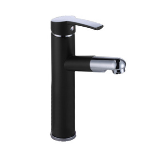 Modern Black Painting Vessel Mount Bathroom Faucet Pull Out Spray