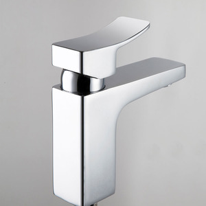 Modern Copper Square Shaped One Handle Bathroom Sink Faucets