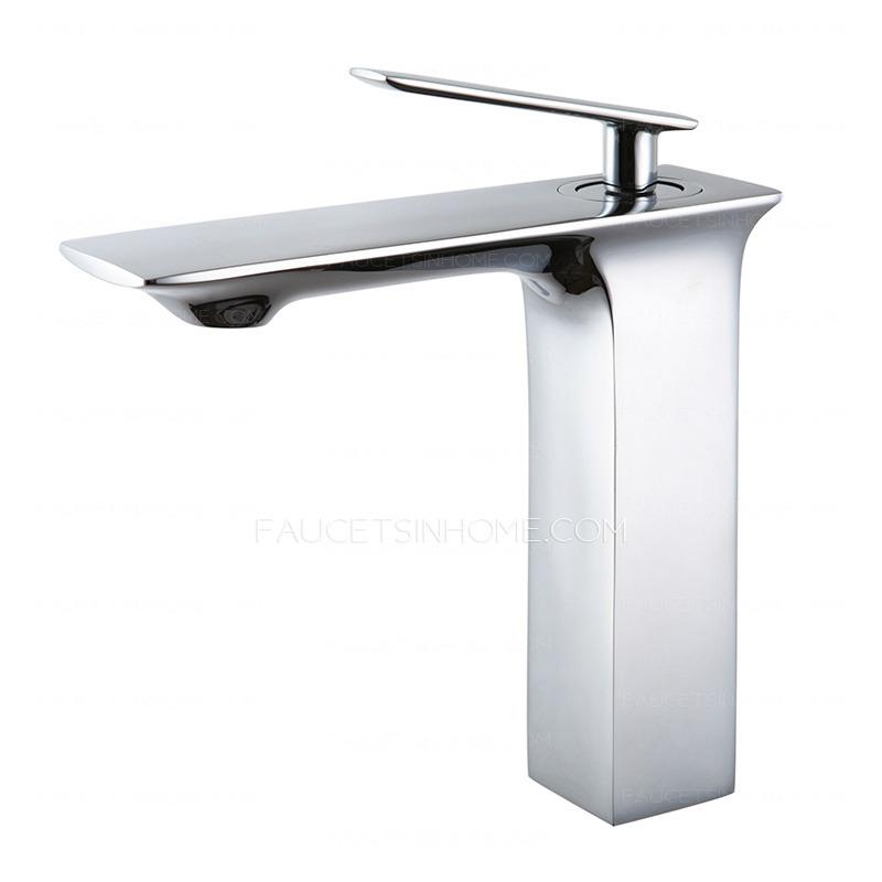 Flat Bathroom Sink : Bathroom Sink Faucets > Slim Single Flat Handle Copper Body Bathroom ...