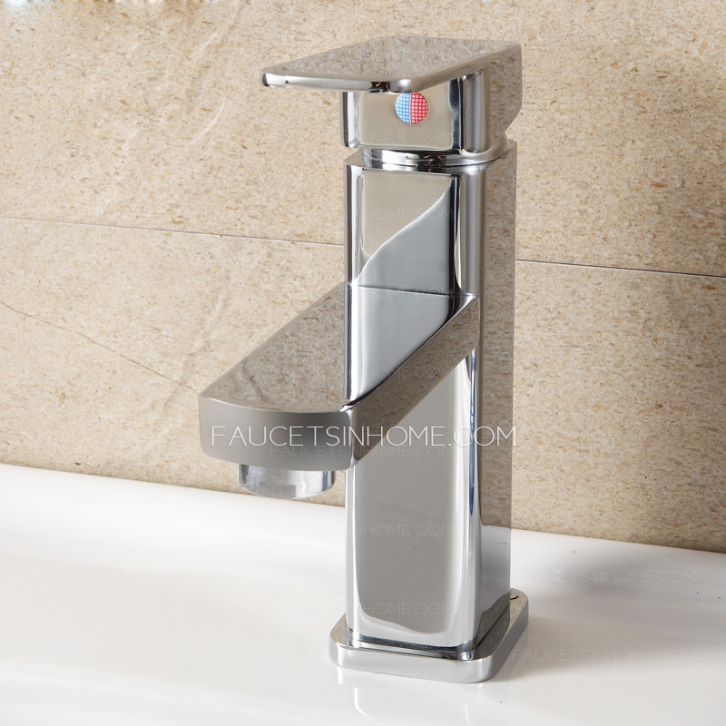 Discount Bathroom Sink Part - 37: Discount Copper Square Shaped Bathroom Sink Faucet Single Hole