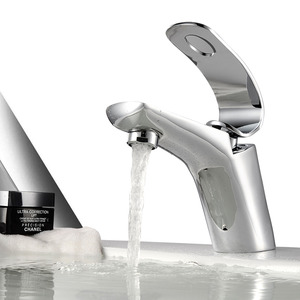Designer Brass Streamlined One Handle Sink Faucets Bathroom