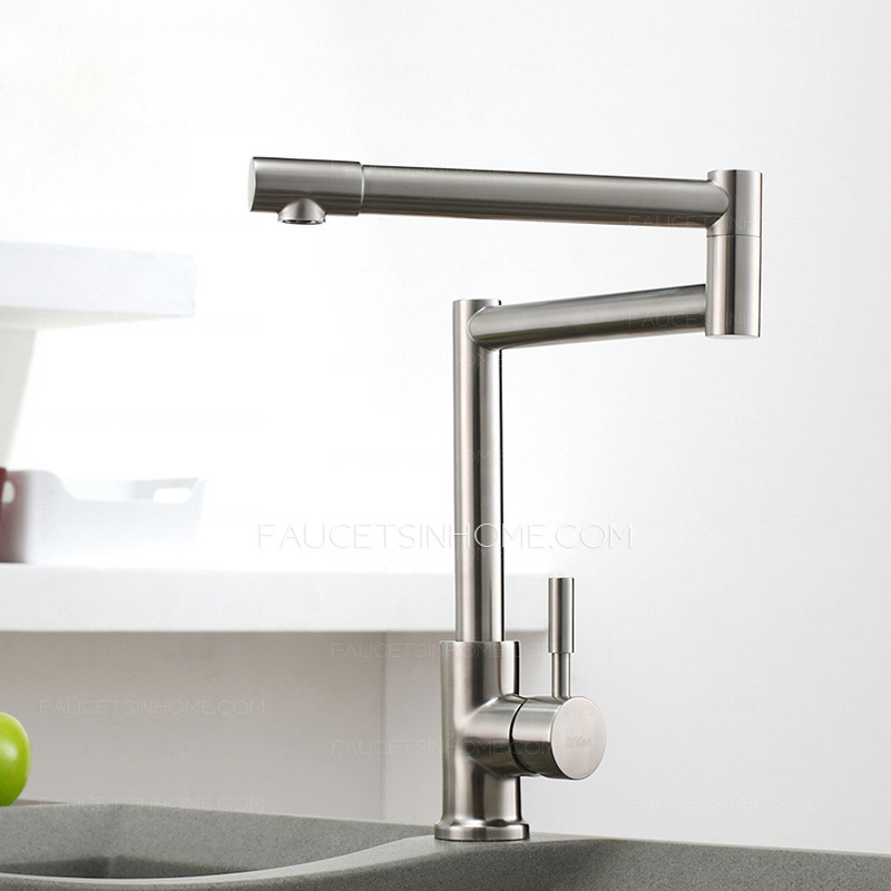 High End Kitchen Faucets : High End Stretch Stainless Steel Brushed Nickel Kitchen Faucets