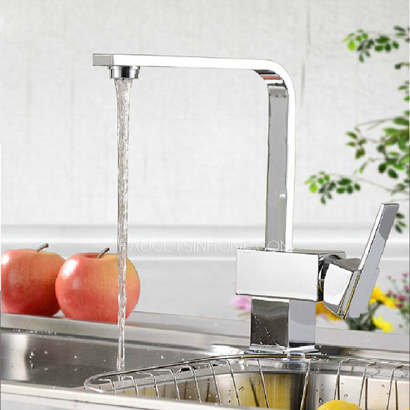 Modern Square Shaped Kitchen Faucet Single Side Handle