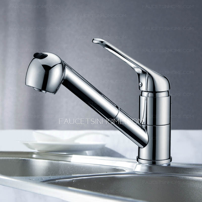 Professional Brass Lengthen Single Handle Kitchen Faucets With Pull Out Spray