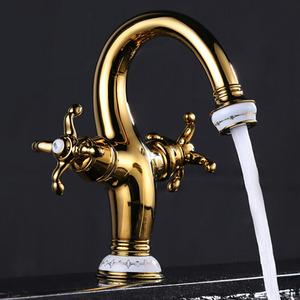 Antique Brass Single Hole Bathroom Sink Faucets Two Handles