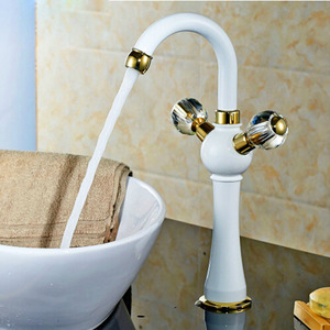 Vintage White Painting Two Handle Bathroom Faucet Vessel Mount