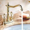 Lengthen Polished Brass Antique Bathroom Sink Faucets Vessel Mount