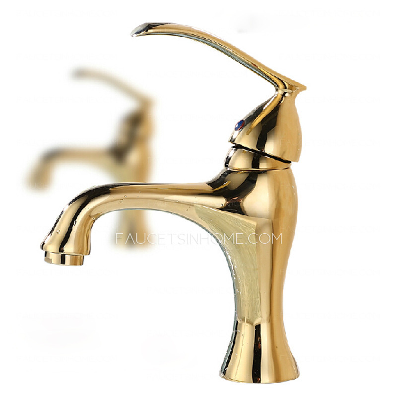 Sleek Polished Brass Golden Bathroom Sink Faucet Single Hole. Polished Brass Golden Bathroom Sink Faucet Single Hole