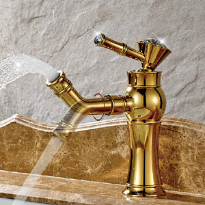 Cheap Golden Brass Rotatable Spout Bathroom Faucet Single Hole