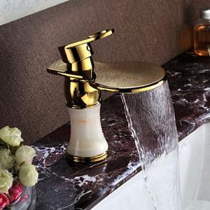 Best Brass Jade Waterfall Bathroom Faucet Single Handle