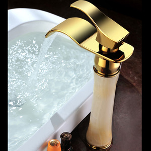 Chic Heightening Jade Brass Waterfall Bathroom Faucet Vessel Mount