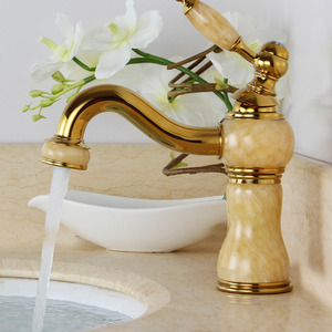 Designer Brass Jade Bathroom Sink Faucet Single Handle One Hole