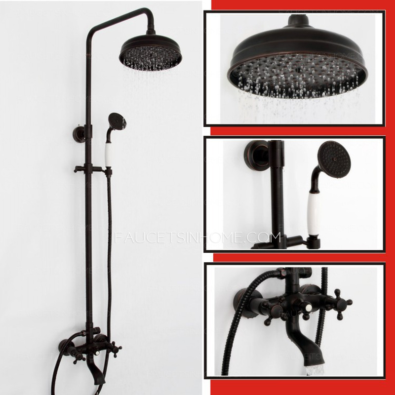 Black Antique Two Handle Shower Faucet System Oil Rubbed