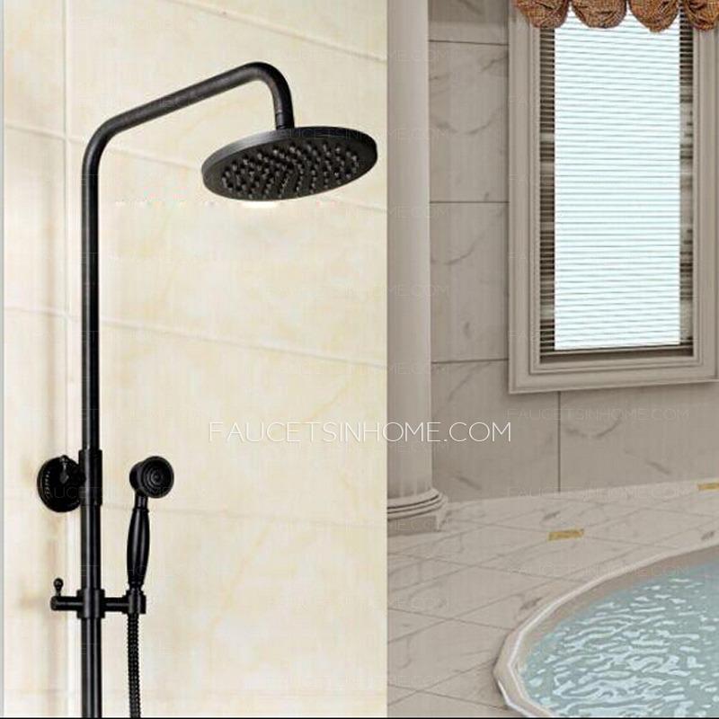 Oil Rubbed Bronze Cross Handle Rain Shower Faucet System