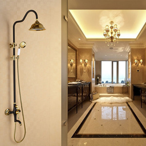 Designer Brass Black Painting Shower Faucets System On Sale