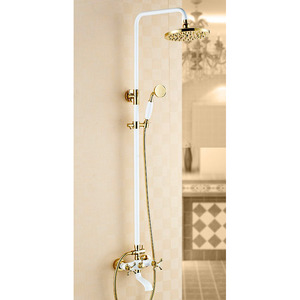 Chic White Painting Brass Vintage Shower Faucet System