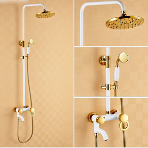 Chic White Painting Brass Shower Faucets System