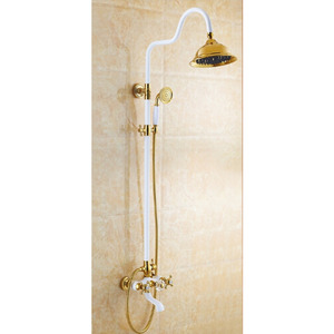 Vintage White Painting Brass Outdoor Wall Mount Shower Faucet