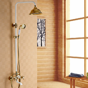 Antique Brass White Painting Rotatable Top Shower Faucet System