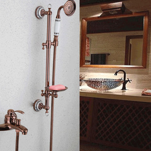 Antique Brass Rose Gold Shower Faucet System
