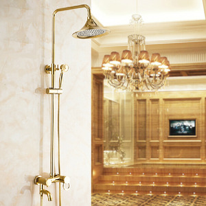 Vintage Polished Brass Shower Faucet System With Hand Shower