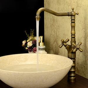 Antique Bronze Vintage Handle Bathroom Faucet Vessel Mount