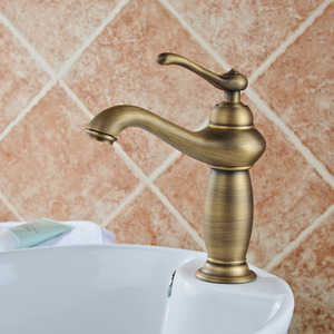 European Style Antique Copper Brushed Bathroom Faucet