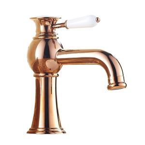 Shiny Rose Gold Brass Vintage Deck Mount Bathroom Faucet