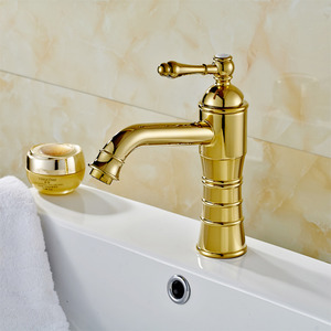 Bright Golden European Style Deck Mounted Bathroom Sink Faucet