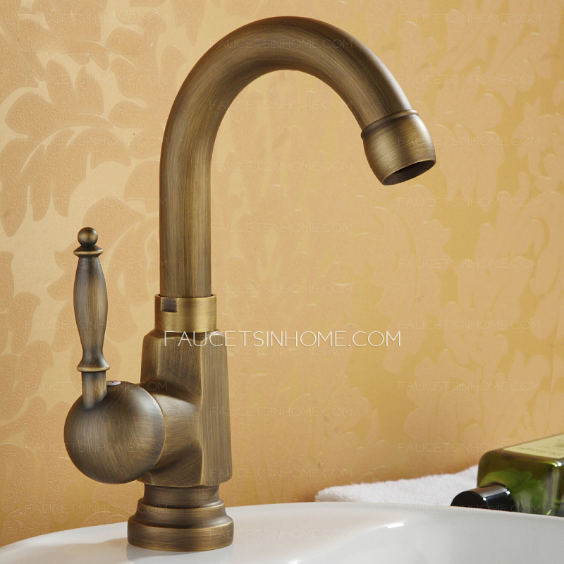 Antique Bronze Stick Side Handle Single Hole Bathroom Brushed Faucets