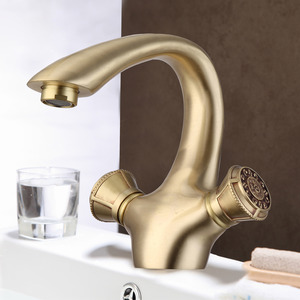 High End Antique Brass Rose Gold Vintage Two Handle Bathroom Faucets