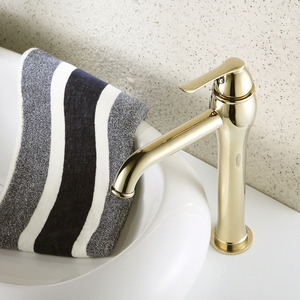 Heightening Gold Polished Brass Bathroom Faucet For Vessel Mounted