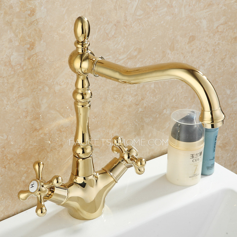 Vintage Golden Polished Brass Lengthen Spout Bathroom Faucet Two ...