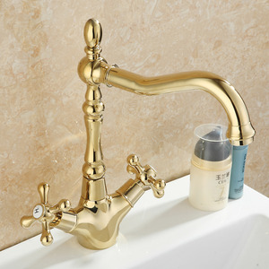 Vintage Golden Polished Brass Lengthen Spout Bathroom Faucet Two Handles