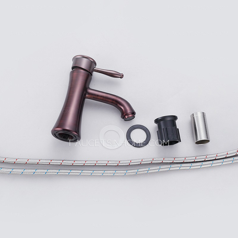Chic Rose Gold Brushed Single Hole Bathroom Sink Faucet