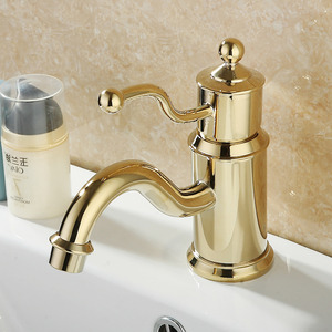 Shiny European Style Golden Bathroom Faucet Single Hole
