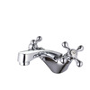Vintage Silver Two Handles Single Hole Bathroom Faucet