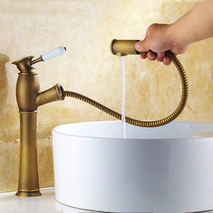 Convenient Pullout Antique Brass Brushed Bathroom Faucets