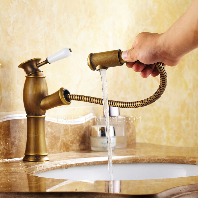 Antique brass brushed single hole bathroom faucet with - Bathroom sink faucet with sprayer ...