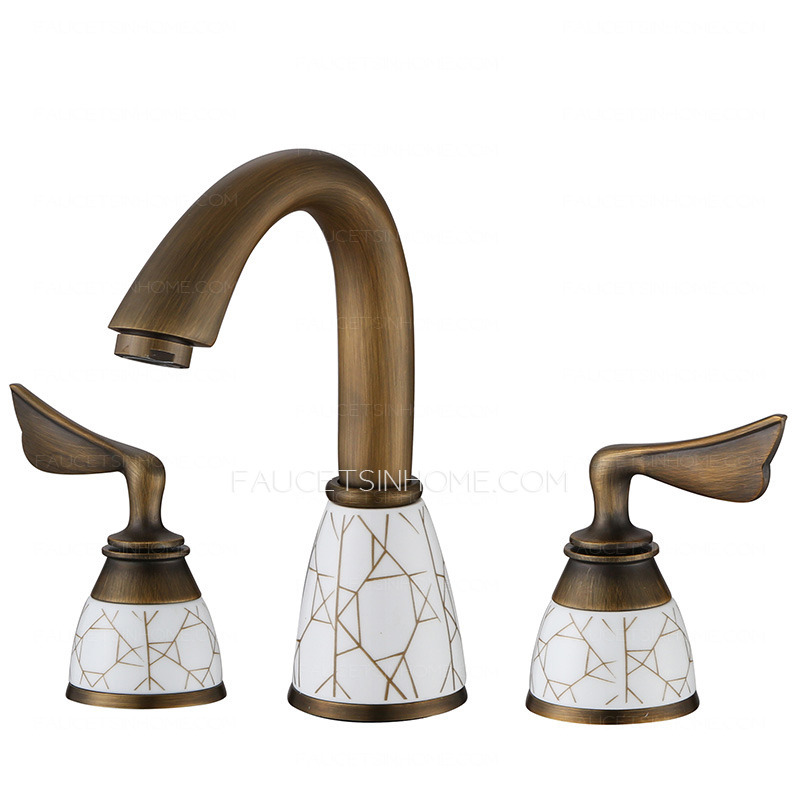 Antique Copper Brushed Porcelain Patterned Bathroom Faucet Three Holes