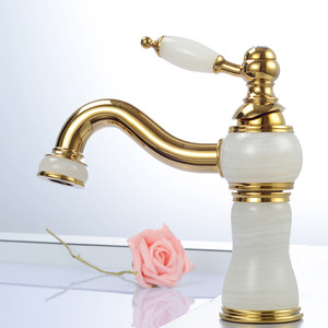 Luxury White Marble Polished Brass Bathroom Faucet Single Hole