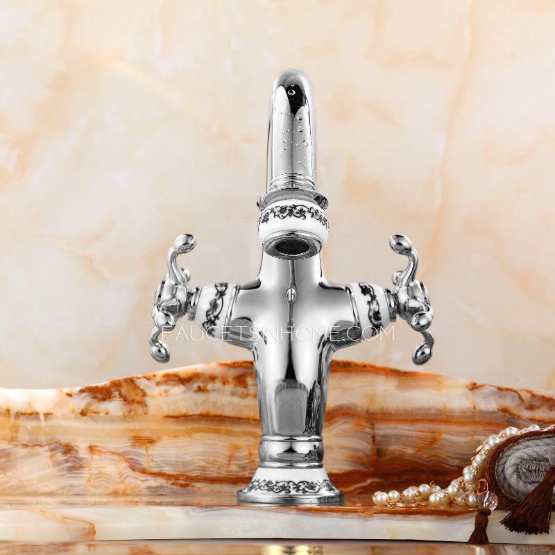 Silver Porcelain Single Hole Goose Neck Bathroom Faucets