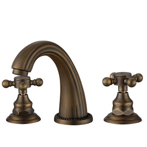 Antique Bronze Three Holes Cross Handle Bathroom Faucets